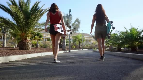 Cover Image for Two Young Women Walk in the Park with Longboards in the Hands of Kolo Palm Trees Under the Setting