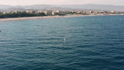 Wind surfing person in the sea