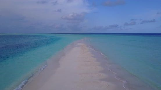 Thumbnail for Wide angle overhead travel shot of a summer white paradise sand beach and aqua turquoise