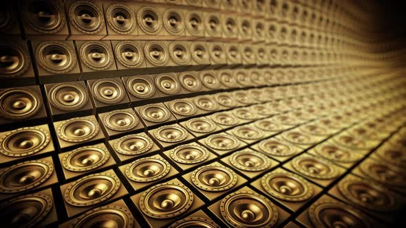 Shiny Gold Random Tiled Speakers Waving Seamless Loop 2