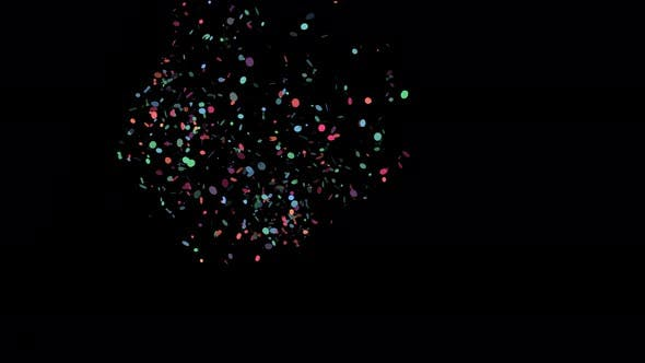 Multicolored Trendy Confetti  Popper Shooting from Left Side