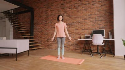 Adult Brunette Meditate at Home
