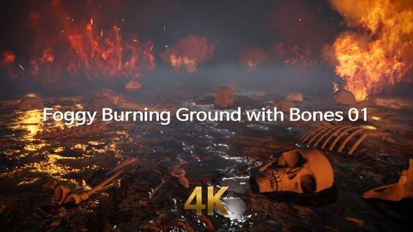 Foggy Burning Ground With Bones 4K 01