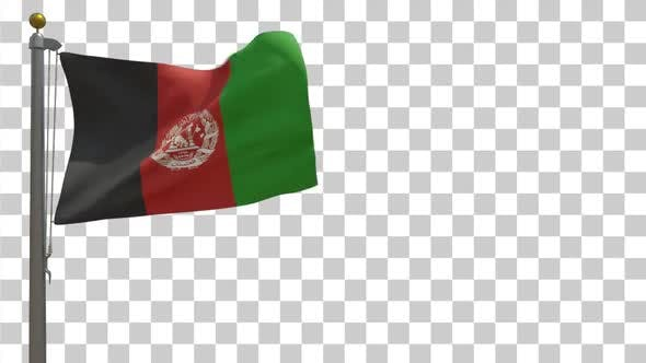 Afghanistan Flag on Flagpole with Alpha Channel