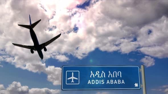 Airplane landing at Addis Ababa Ethiopia airport