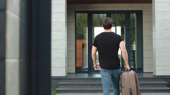 Thumbnail for Tourist Man Caming Back Home From Holiday. Handsome Man Returning From Journey