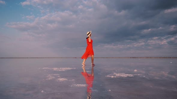 Thumbnail for Hiking Girl in a Fluttering Dress Walks Along a Pink Salt Lake in Which the Sky Is Reflected