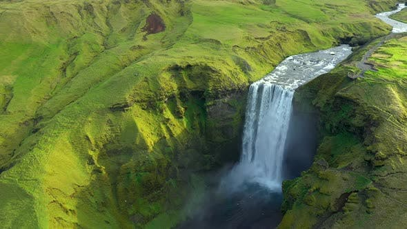 Skogafoss, Iceland's Famous Ring Road Waterfall Aerial view