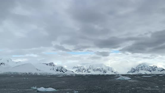 Cuverville Island covered with snow, Antarctica