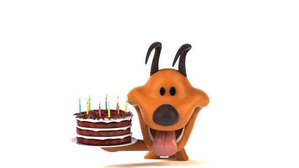 Thumbnail for Fun dog with a birthday cake