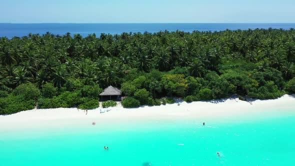 Thumbnail for Aerial top down landscape of beautiful coastline beach trip by aqua blue ocean and white sandy backg