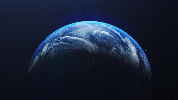 Thumbnail for Closeup earth in middle with shining sunrise from space view