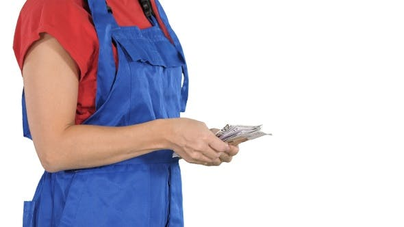 Thumbnail for A Woman in A Workers Clothes Counts Money on White Background.