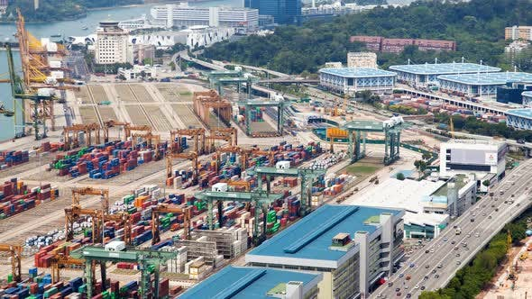Trading Port of Singapore with Containers and Haevy Traffic Trucks Timelapse