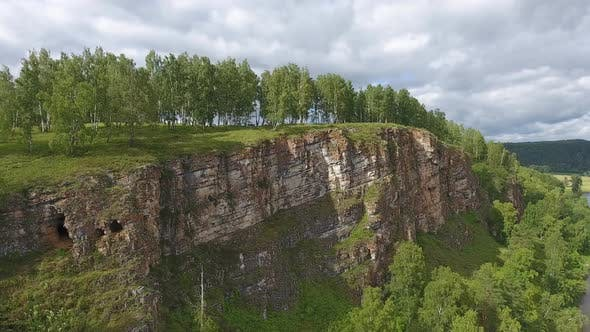Thumbnail for Aerial of Cave in Rock in Ural Mountains Russia