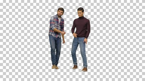 Two young men dancing in a funny awkward way, Alpha Channel