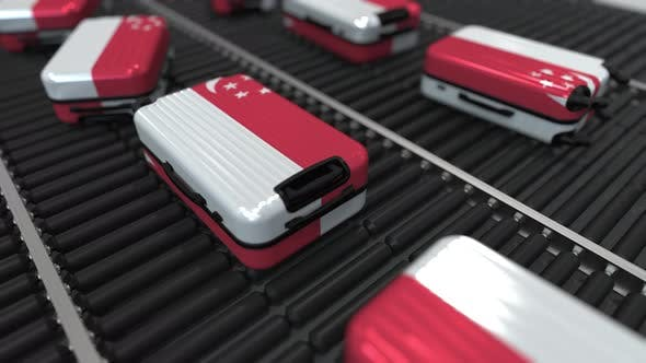 Thumbnail for Suitcases Featuring Flag of Singapore on Roller Conveyer