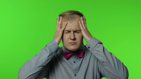 Thumbnail for Flu-sick Man Feeling Unwell, Suffering Headache, Rubbing Head To Relieve Pain, Migraine, Stress