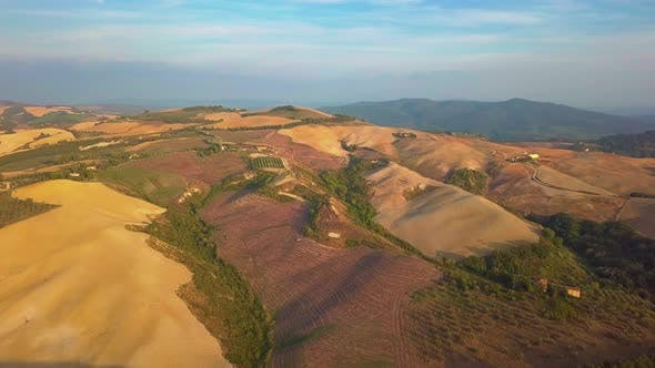Thumbnail for Aerial Nature Landscape Beautiful Hills Forests Fields and Vineyards of Tuscany, Italy