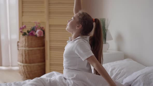 Thumbnail for Caucasian Child Cute Relax or Kid Girl Wake Up or Woke Up with Stretch Oneself After Sleep for