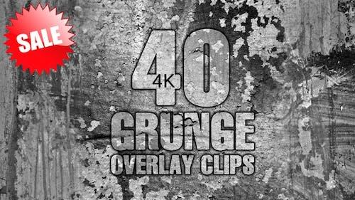 40 Grunge Overlay Clips Pack 4K
