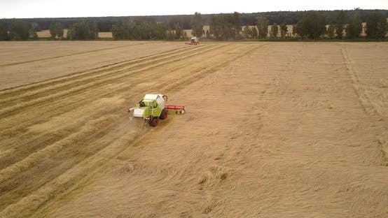 Thumbnail for Aerial View Two Combines Move Harvesting Wheat Along Field