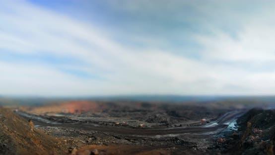 Timelapse Tilt-shift Quarry Coal Mining