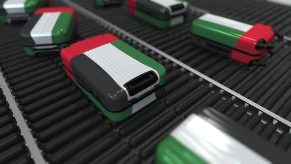 Cover Image for Many Suitcases Featuring Flag of the United Arab Emirates