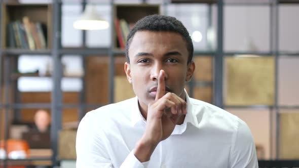 Thumbnail for Silence,  Finger on Lips of Black Man in Office