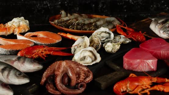 Thumbnail for Different Types of Seafood Slowly Rotate on the Table