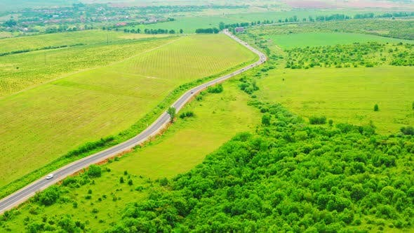 Thumbnail for Aerial View on Highway Rural Area