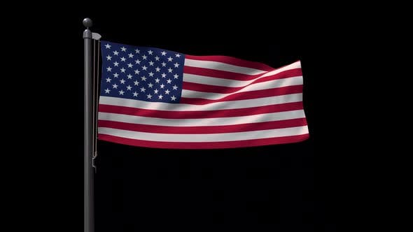 United States Of America  Flag On A Flagpole With Alpha Channel