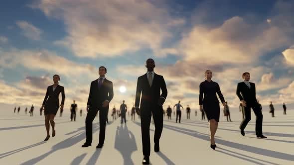 Successful Business People Walking Towards Camera