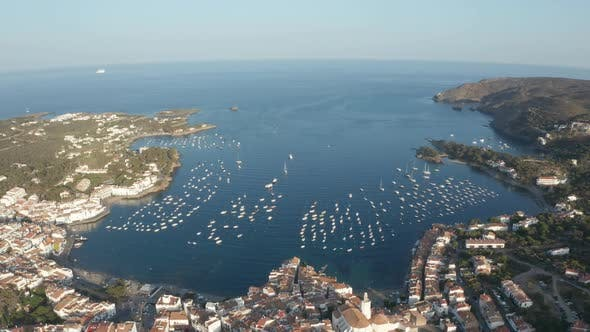 Cover Image for Drone Shot of Blue Bay with Yachts Near Cadaques