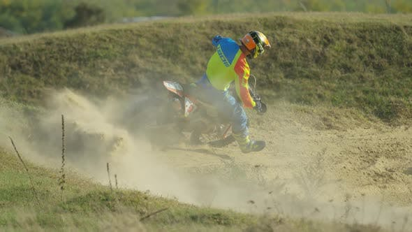 Thumbnail for Riding a motocross and leaving dust behind
