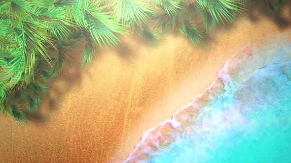 Closeup sandy beach with blue waves of ocean