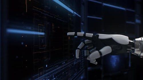 Crop Robot über futuristische Schnittstelle