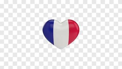 France Flag on a Rotating 3D Heart