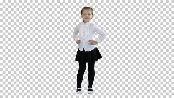 Thumbnail for Cute little girl in white dress posing on camera, Alpha Channel