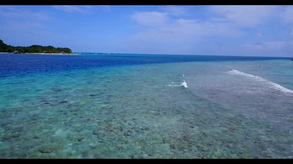 Thumbnail for Aerial view panorama of exotic resort beach trip by aqua blue ocean and white sandy background of a