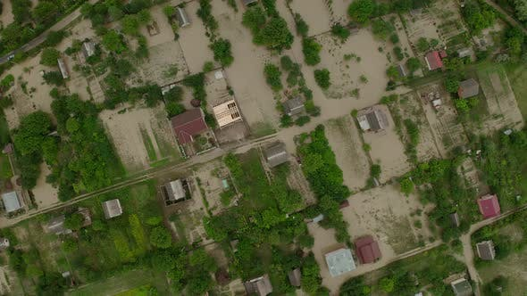 Thumbnail for Aerial Drone View. Depiction of Flooding Mudslide. Suitable for Showing the Devastation Wrought