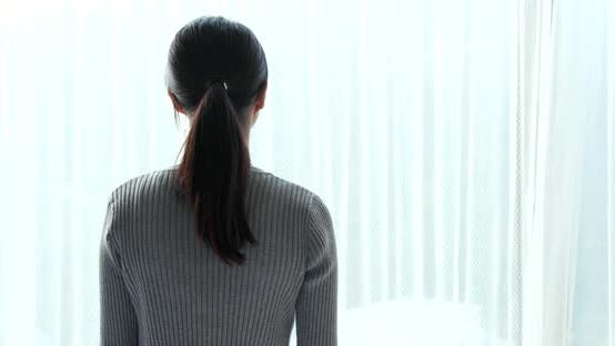 Thumbnail for Woman Wake up Stretching Hand and Open Window Curtain