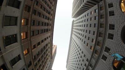 Fish Eye View Between Close Buildings