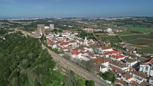 Thumbnail for Aerial View of Medieval Town Obidos in Portugal