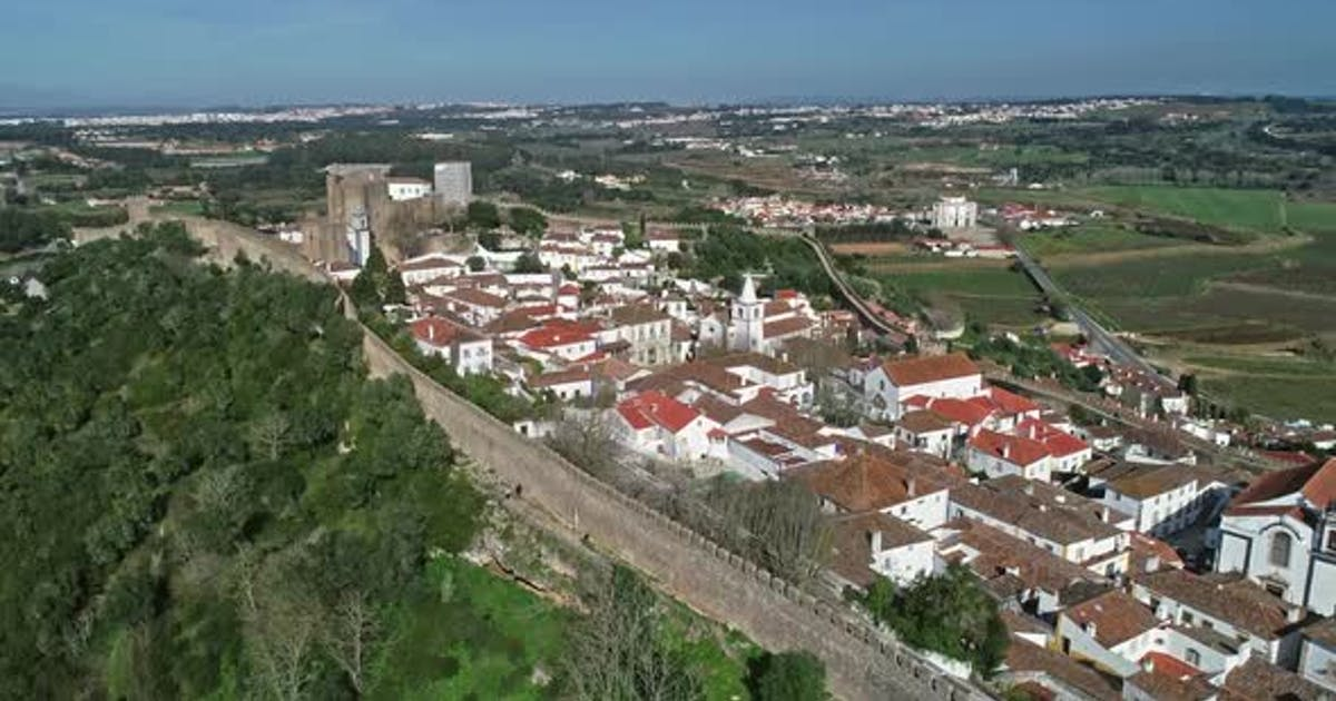 Aerial View of Medieval Town Obidos in Portugal