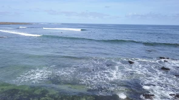 Thumbnail for A View From Above of the Surfers in the Ocean