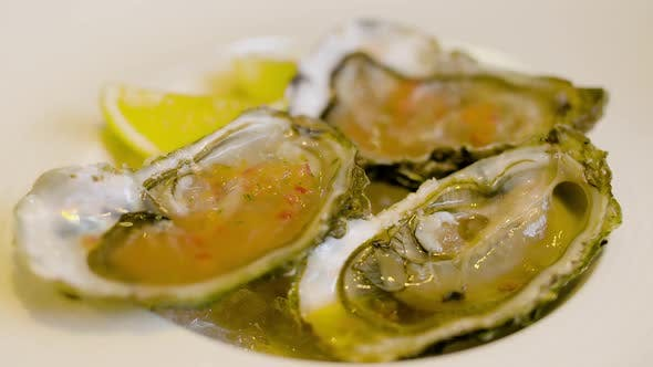 Thumbnail for Chef Preparing Oysters Dish in Elegant Restaurant.