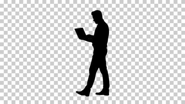 Thumbnail for Silhouette Formal man walking and using laptop, Alpha Channel