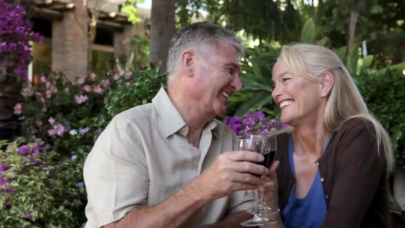 Thumbnail for Mature couple enjoying a glass of wine