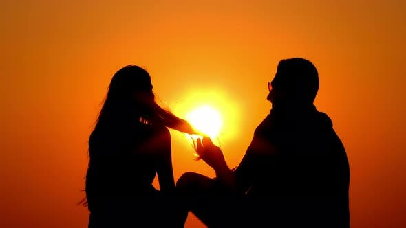 Thumbnail for Couple Lovers In Sunset Silhouette 4